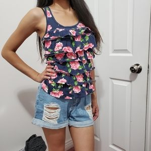 ❗❗3/$20 Hollister Floral Ruffled Tank Top